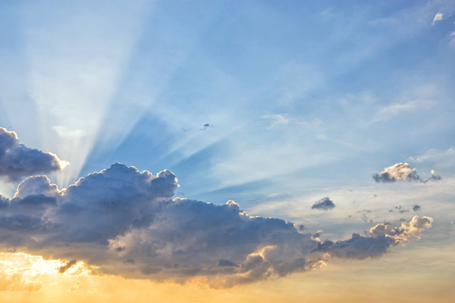 Sunbeam from behind cloud