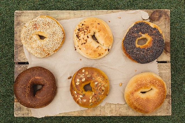 Selection of bagels at Brooklyn Bagel Boys